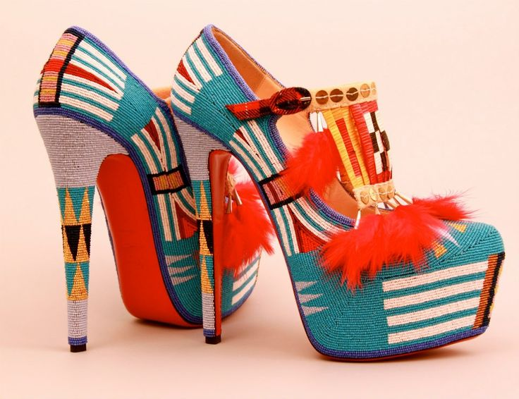 Jamie Okuma's beaded and quilled platform Louboutin shoes!: Native Beadwork, Contemporary Artists, Platform High Heels, Intric Beadwork, Beads Shoes, Contemporary Shoes, Okuma Beadwork, Jamie Okuma, Louboutin Shoes