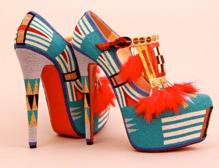 Jamie Okuma's beaded and quilled platform Louboutin shoes!