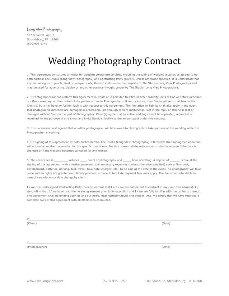 17 best images about wedding photography contract template for Photographer contracts templates