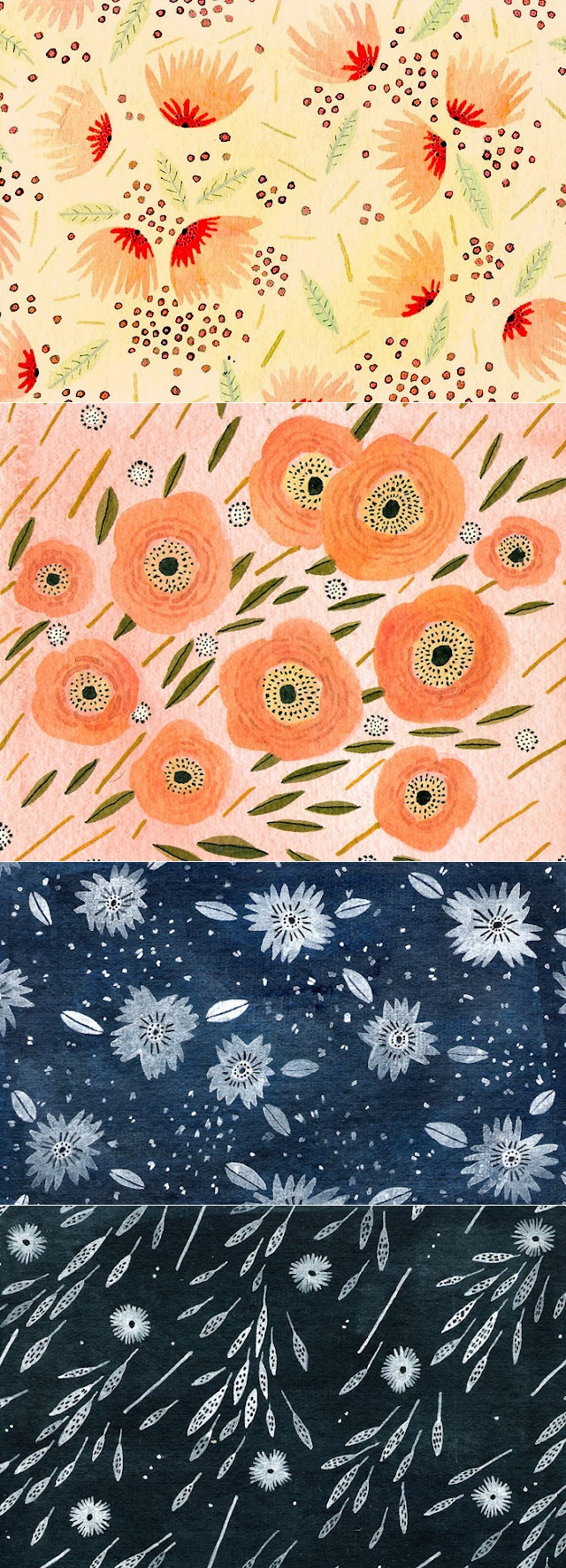 These gorgeous floral patterns by Becca Stadtlander made the blog rounds recently, and for good reason! (via nancy straughan http://nancystraughan.blogspot.com/2012/02/becca-stadt-lander.html)