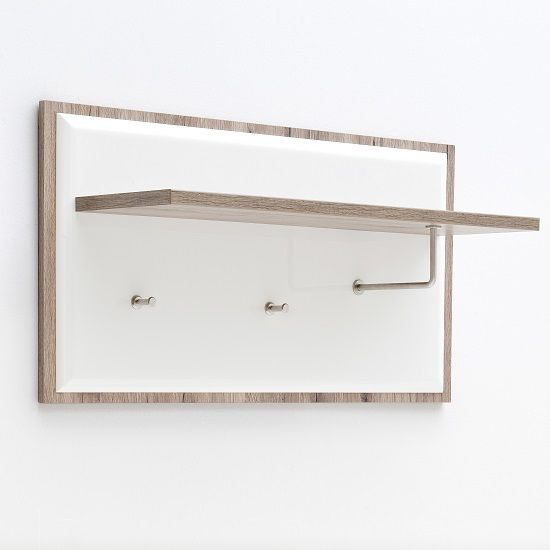 Gentil Camino Wall Mounted Coat Rack In White Gloss Front And Oak