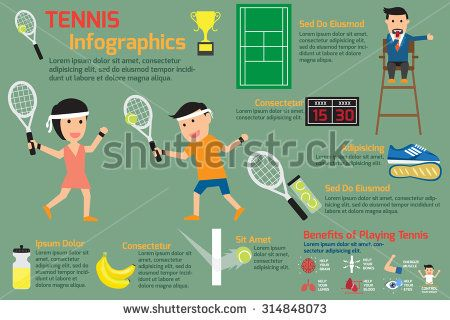 Tennis infographics elements. vector illustration.