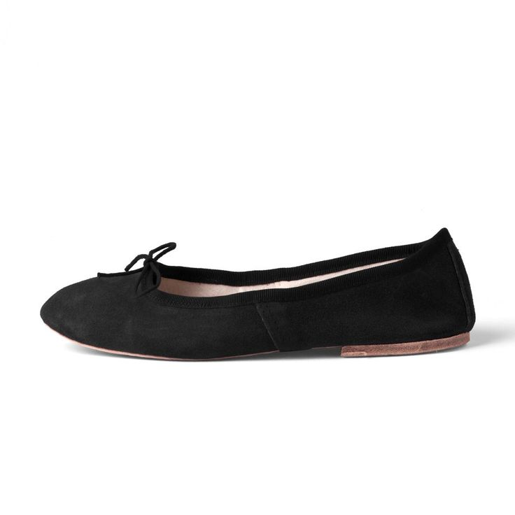 Black Suede Leather Ballet Flats from Porselli | Hand made especially for Pierotucci
