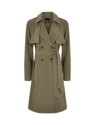 Khaki Drape Belted Trench Coat    New Look