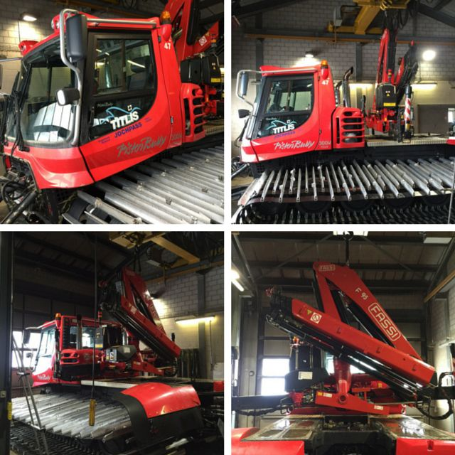 Check out this rig! One of our clients mounting a #Fassi F95 #knuckleboom #crane on their #pistenbully Awesome! #hiab #palfinger #ladekran #snowexperts #redcrane
