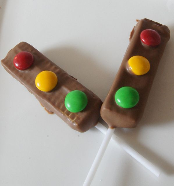Traffic light party treat....use mini twix bars instead.