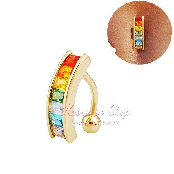 Сексуальная украшения для тела 14 г радуга цвет кристалл пупок кольца бар живота пирсинг 18 К золото пупка кольца пирсинг ювелирные изделия купить на AliExpress