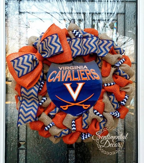 UVA Burlap wreath, University of Virginia Cavaliers Wreath, Collegiate Wreath, Football wreath, #uvacavaliers