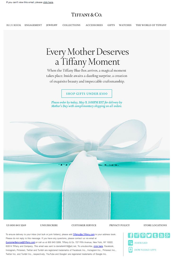 Tiffany & Co. Mother's Day email 2015