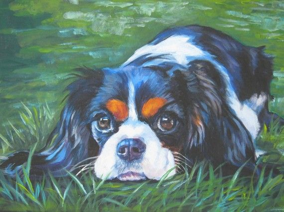 Cavalier King Charles Spaniel dog art CANVAS print by TheDogLover, $39.99
