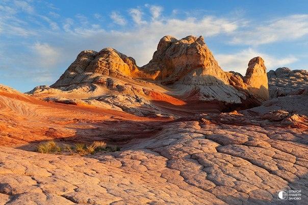Уайт-Покет ( White Pocket) - одно из множества геологических чудес плато Пария в США: грунтовые воды за миллионы лет выбелили алый песчаник, а перепады температур разбили его поверхность на множество неправильных многоугольников.