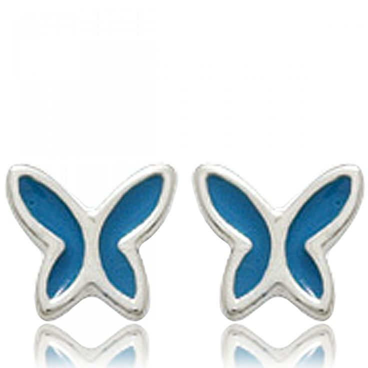 Ladies silver Papillons de nuit blue earrings - Bijoux Paris