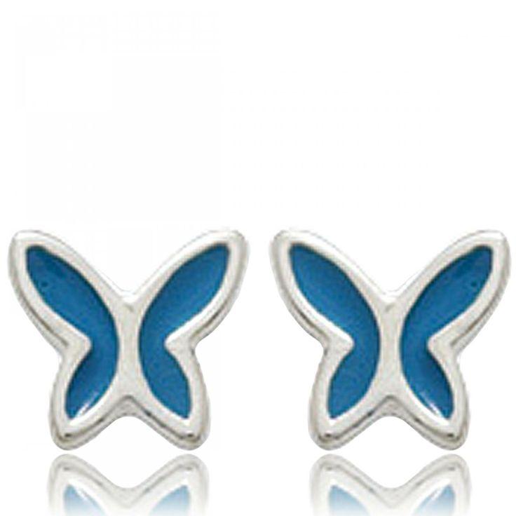 Ladies silver Papillons de nuit blue earrings - Bijoux Paris