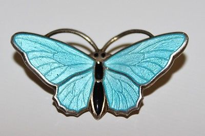 AKSEL-HOLMSEN-NORWAY-925S-STERLING-S-MODERNIST-ENAMEL-BUTTERFLY-PIN-BROOCH