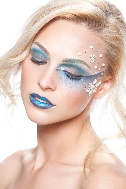2014 Halloween Crystals Frozen Elsa Inspired Makeup - Ice Snowflakes Makeup Tutorial #2014 #Halloween