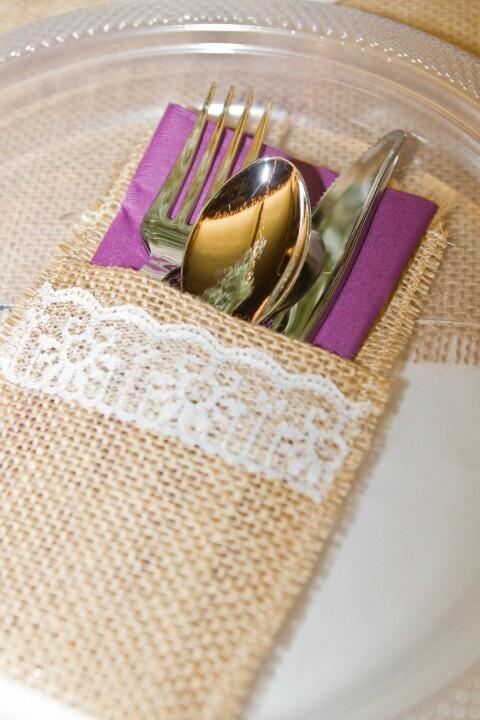 Diy burlap and lace silverware holders