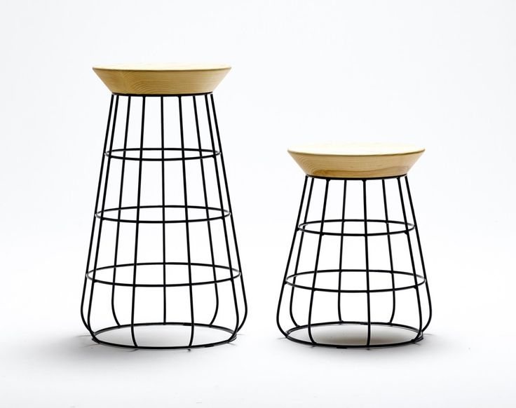 Black Metal Cage Frame Stool With Wooden Seat Design Ideas