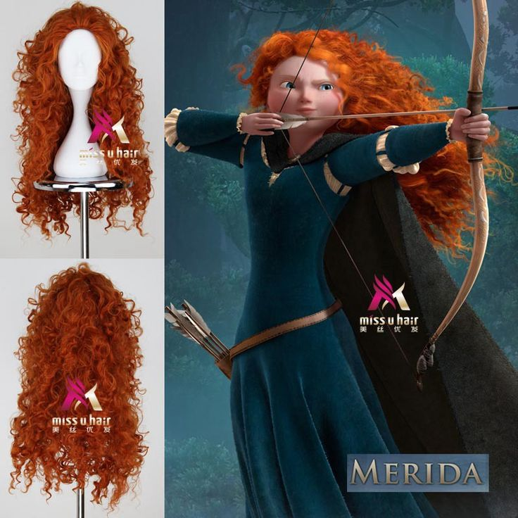 "Coraggioso Merida Parrucca 70 cm 27.56 ""long curly wavy anime cosplay parrucche per le donne femminile capelli finti parrucca sintetica di alta qualità orange"