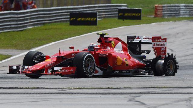 Kimi Raikkonen (FIN) Ferrari SF15-T with puncture at Formula One World Championship, Rd2, Malaysian Grand Prix, Race, Sepang, Malaysia, Sunday 29 March 2015. © Sutton Motorsport Images