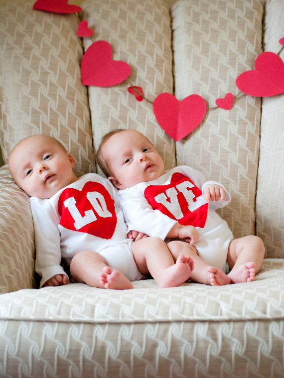 Valentines day lo ve twin bodysuits set great gift for twins or siblings