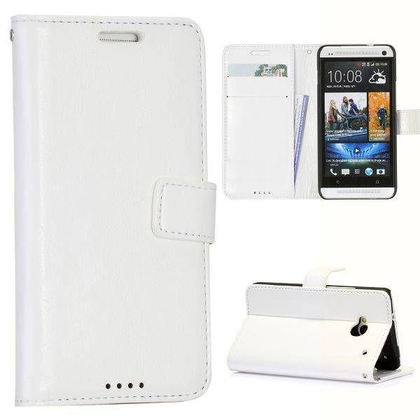 Wit faux leder bookcase hoesje voor de HTC One
