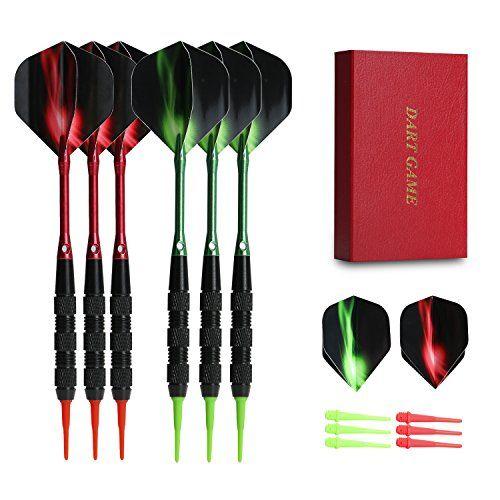 Vopa Professional 17 Grams Soft Tip Darts Set with Plastic Tip 2 Styles Dart Flights Aluminum Dart Shafts 12 Soft Tip Points for Electronic Dartboard