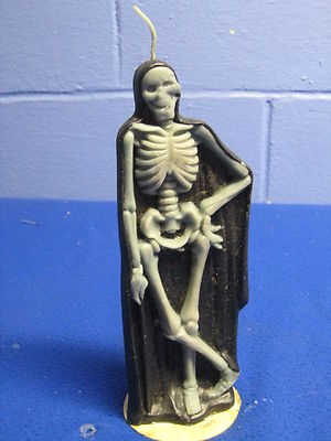 """Vintage Halloween Gurley Candle ~ Caped 9"""" tall Skeleton"""