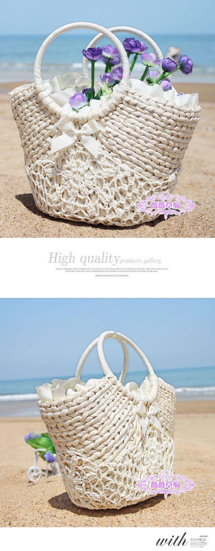 Лето новое поступление мода женская приморский вязаные сумки соломы пляж из ротанга большой емкости тканые сумки отпуск тотализатор купить на AliExpress