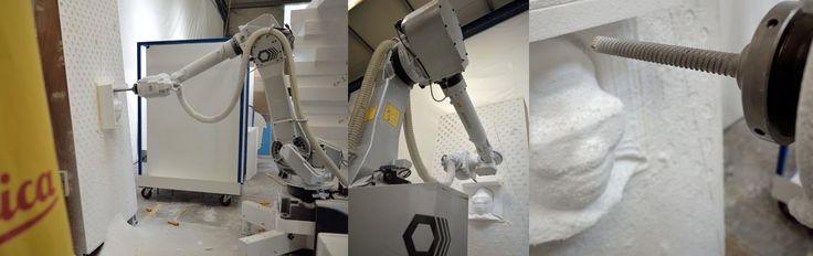 Robot Fanuc-Romer 6 axes, positionné au tracker laser http://www.formes-et-volumes.fr/usinage-3d-polystyrene.html