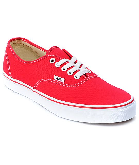 The Authentic is the shoe that has stayed true to its roots and has not changed since its 1966 origin. The red Vans Authentic is a classic skate shoe that can be seen on anyone from your favorite skateboarder, rapper, rock star, celebrity, or classmate. T