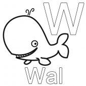 Buchstaben lernen: Kostenlose Malvorlage: W wie Wal zum Ausmalen