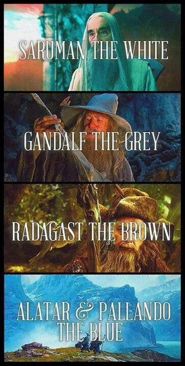 The Istari: Saruman the White, Gandalf the Grey, Radagast the Brown, and the two blue wizards not fully detailed or talked about by professor Tolkein: Alatar and Pallando.