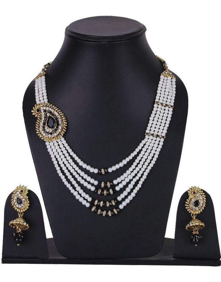Elegant Black Stone White Peal Strand Bollywood Jhumki Necklace Set #natural_gems15