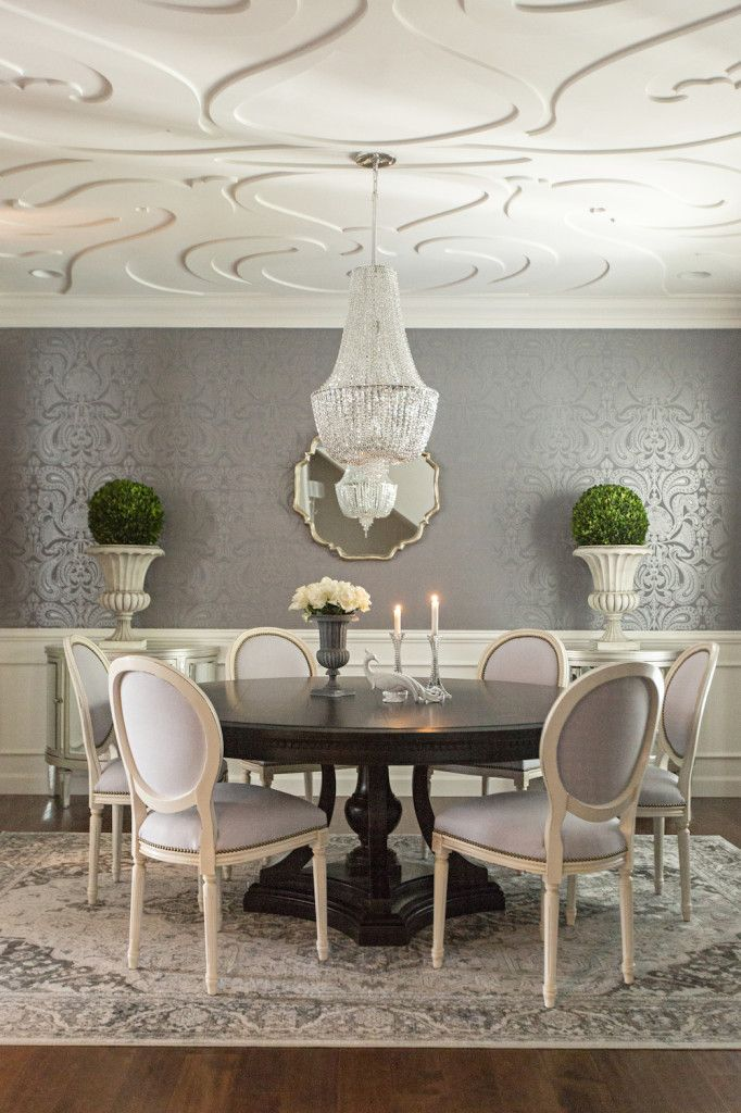 grey & ivory dining room, dark pedestal table, white Louis chairs with nailhead trim, oriental rug