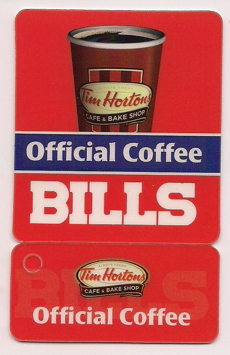 2012 - Tim Hortons Buffalo Bills football schedule. There is also a 2011 schedule,which is dark red in color. I do not have the 2011 schedule. In 2013,they issued this same card for the 2013 schedule.