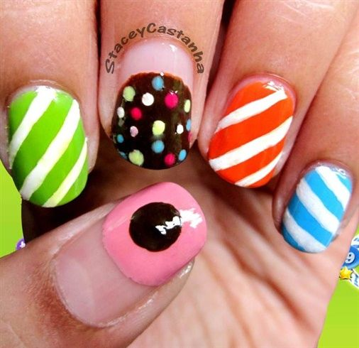 Candy Crush Nails!! :)  by StaceyNailCandy - Nail Art Gallery nailartgallery.nailsmag.com by Nails Magazine www.nailsmag.com #nailart