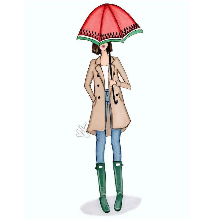 "59 Likes, 3 Comments - Lauren (@laurehowillustration) on Instagram: ""Rain rain go away ☔️ • • • • • • • #rainyday #rain #umbrella #copic #prismacolor #art #fashionart…"""
