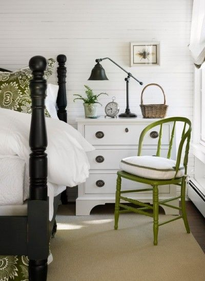 Love the white dresser w black handles. Olive green painted furniture.
