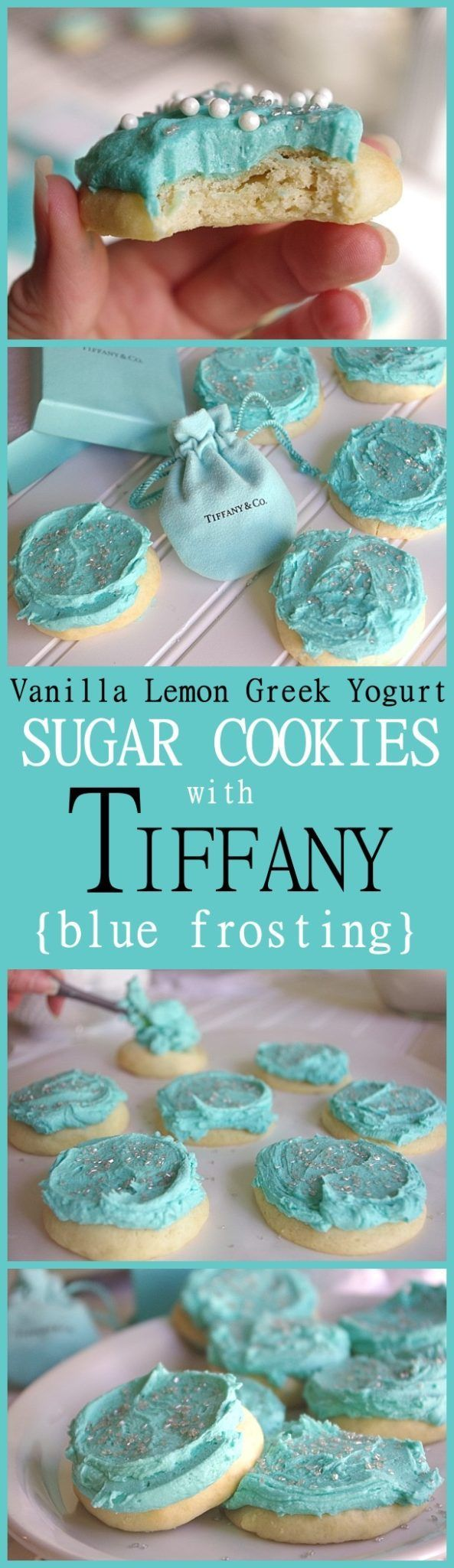 Yummy Vanilla Lemon Greek Yogurt Moist and perfect Sugar Cookies with Tiffany Blue Frosting Recipe and Tutorial - These are SO pretty and over the top lightly lemony YUMMY! 30 minutes tops from start to your first pan out of the oven. NO ROLLING and NO REFRIGERATION down time!