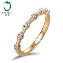 Half Eternity Classic For Unisex 0.30ct Pave H SI Natural Diamond Engagement Wedding Band Caimao Jewelry(China (Mainland))
