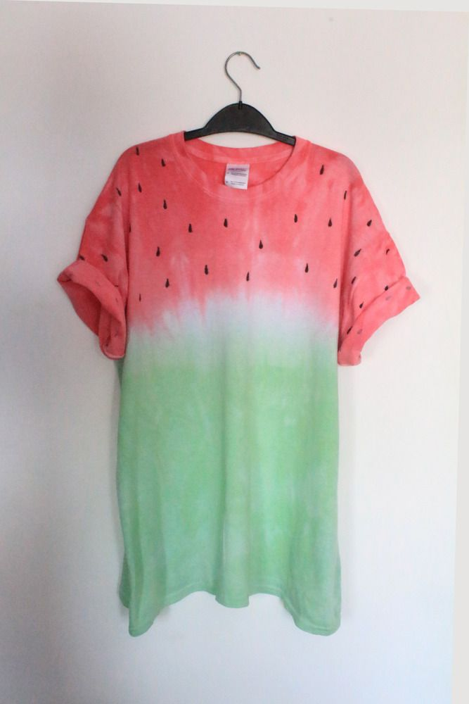 Halloween???  Watermelon Fruit Tie Dye / Dip Dye T Shirt. Fruit of the Loom, 100% Cotton. Size…