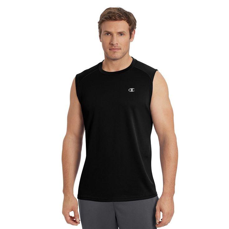 Men's Champion Vapor Performance Muscle Tee, Size: Medium, Black