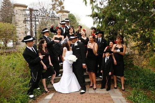 Gangster and glamor girl wedding