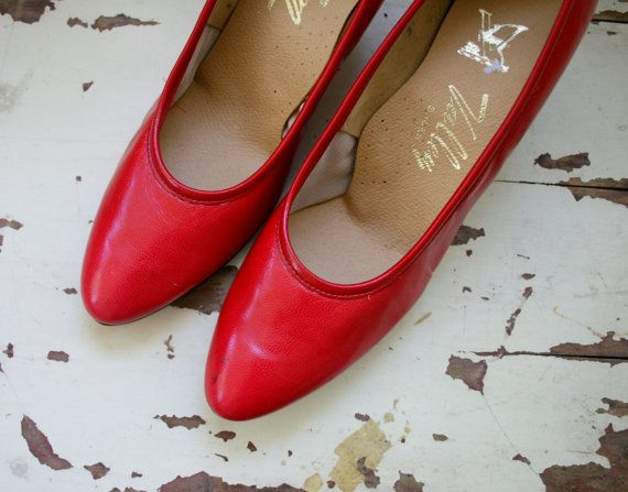 1960s VALLEY GIRL Red Heels...size 7 women.....red by retroandme