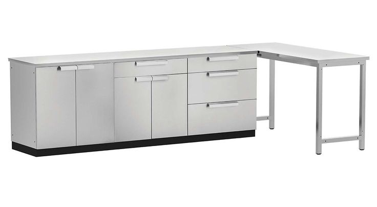 5-Piece Stainless Steel Outdoor Kitchen with Prep Table ...