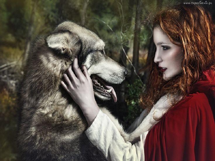 Edycja Tapety: Wilk, Kobieta, Czerwony, Kapturek