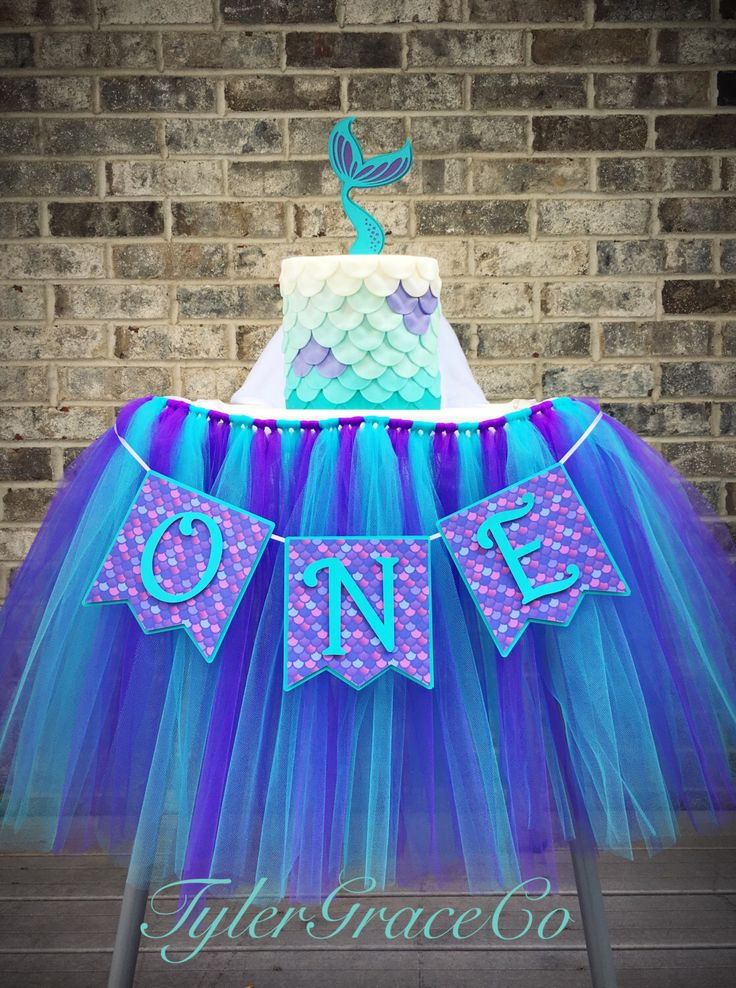 Mermaid Highchair Tutu AND Age Banner AND Mermaid Tail Cake Topper, Birthday set, One by TylerGraceCo on Etsy https://www.etsy.com/listing/481102109/mermaid-highchair-tutu-and-age-banner