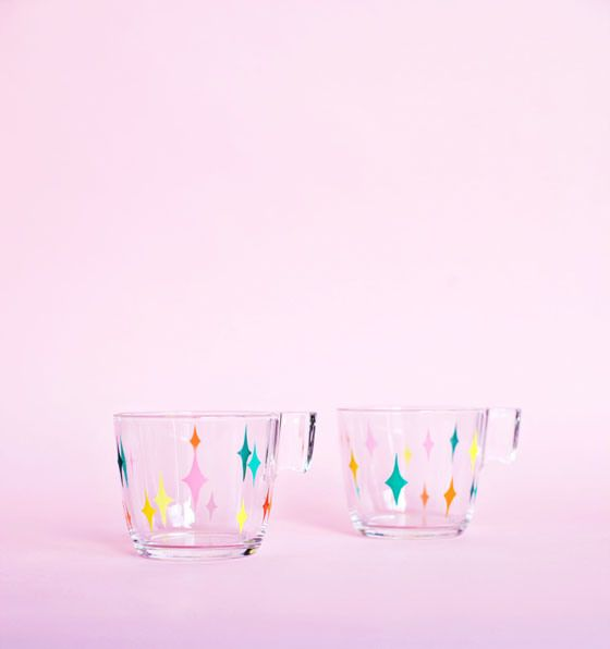 DIY Mid-Century Painted Glass Mugs #12monthsofmartha | See more about Mugs, Glasses and DIY.