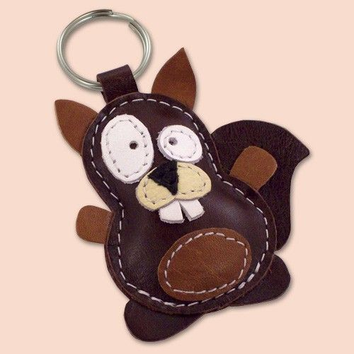 Sweet Little Brown Squirrel Leather Animal Keychain - FREE Shipping Worldwide