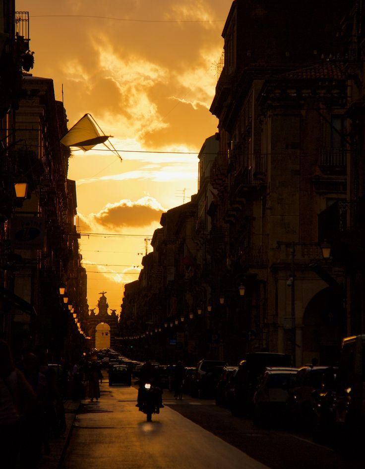 Catania in gold - During a truly amazing sunset in Catania, Sicily, Italy.